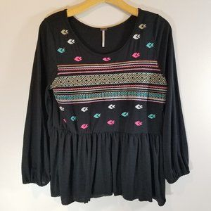 Poof! Black Tribal Embroidered Flowy Top